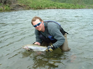 Brian Helps Release Gorgeous Trophy Rainbow Trout - ALASKA RAFT CONNECTION