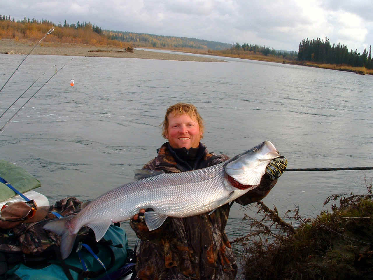 Brian with GIANT ARCTIC SHEEFISH on the UPPER KOBUK RIVER Float Trip - ALASKA RAFT CONNECTION